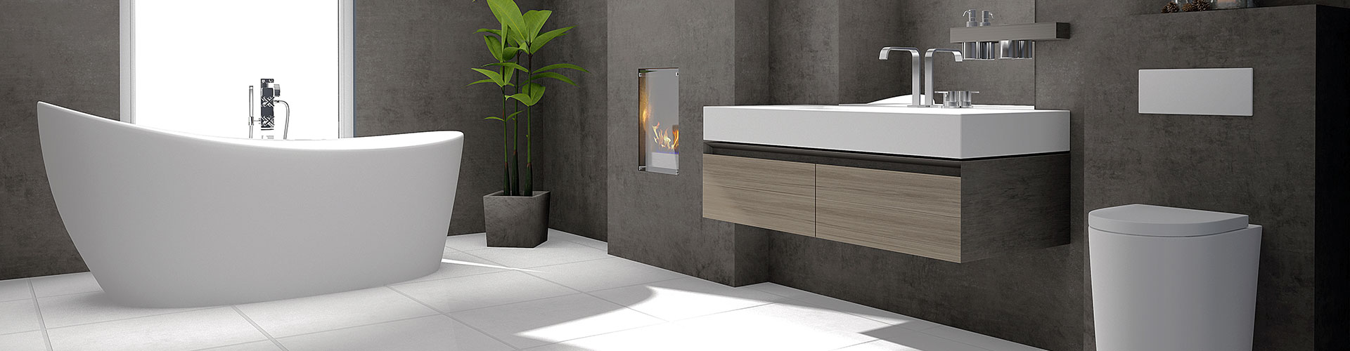 Dunkles Badezimmer in edler Optik mit Waschbecken und Badewanne